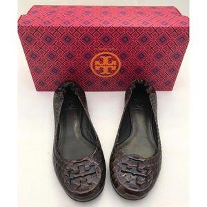 Tory Burch Shoes - Tory Burch Reva Flats Brown Snake Patent SZ 5